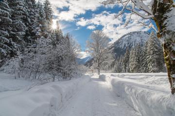 Geräumte Winterwanderwege in Oberstdorf   im Trettachtal