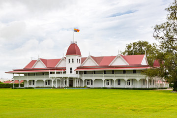 The wooden Royal Palace of the Kingdom of Tonga in the capital of Nukualofa or Nuku'alofa, Polynesia, Oceania, South Pacific Ocean. Built in 1867, the official residence of the King of Tonga