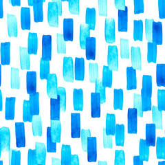 Seamless watercolor pattern with brushstrokes. Modern style abstract background in bright blue color. Perfect for textile fabric, decorative paper or website wallpaper