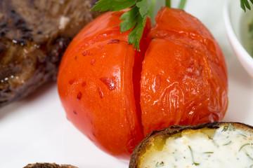 Baked tomato closeup.