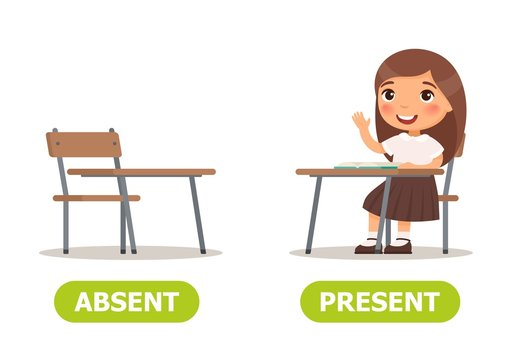 Vector antonyms and opposites. ABSENT and PRESENT. Card for teaching aid, for a foreign language learning
