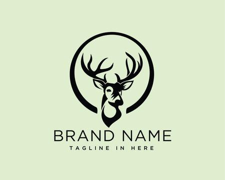 Circle with head deer logo design inspiration