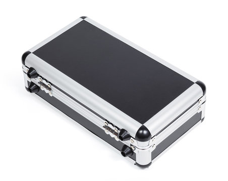 Aluminum case box isolated on white background. clipping path.