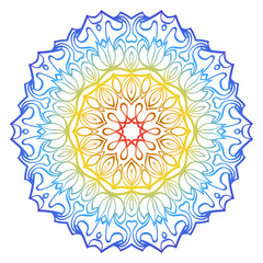 Ornamental Circle Pattern. Hand Draw Mandala. Vintage Decorative Elements. Vector illustration. Red, yellow, blue gradient. For Book, Greeting Card, Invitation, Tattoo. Anti-Stress Therapy Pattern.
