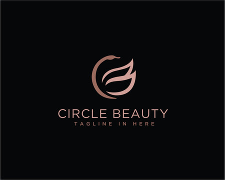 Circle Beauty swan CB initial logo design inspiration