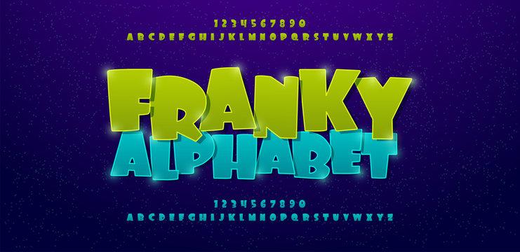 Franky comics alphabet font. Typography comic logo or movie fonts designs concept. vector illustration