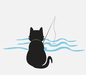 illustration of funny kitten media , cat fisherman catches fish