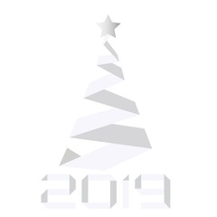 Vector Paper Christmas and New Year Tree. holiday cards and banners. 2019. Paper cut style.