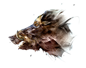 painted isolated bright face animal boar from the side