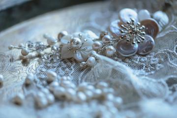 Closeup macro photo of details, workplace of decorator and creator of wedding imitation jewelry