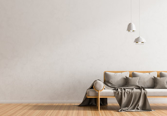Empty wall mock up in Scandinavian style hipster interior. Minimalist modern interior design. 3D illustration.