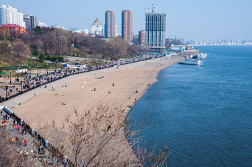 Embankment of the Amur River in the city of Khabarovsk in spring