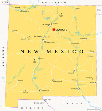 New Mexico, political map, with capital Santa Fe, borders, important cities, rivers and lakes. State in the Southwestern region of United States of America. English labeling. Illustration. Vector.