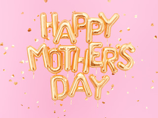 Hapyy Mother's day banner, foil balloons gold text on pink background, heart shape confetti. 3d rendering