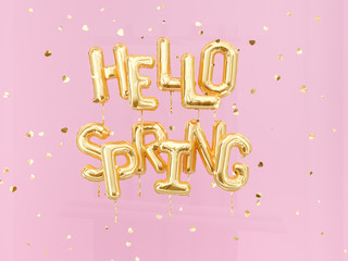 Hello Spring banner balloons gold text on pink confetti background, 3d rendering
