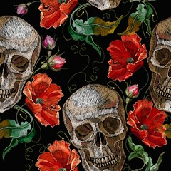 Embroidery skull and red roses seamless pattern. Dark gothic art. Halloween background. Fashion clothes template and t-shirt design