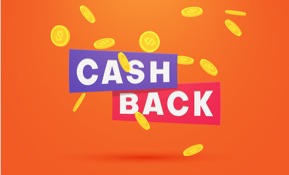 Money cashback orange poster with gold dollar coins.
