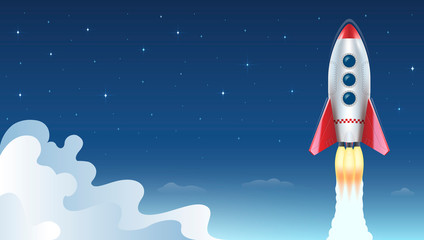 Illustration of rocket flying above clouds on background of space and stars. Vector illustration.