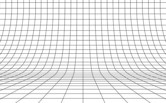 Grid curved background empty in perspective, vector illustration.
