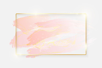 Gold shiny glowing rectangle frame with rose pastel brush strokes isolated on white background. Golden luxury line border for invitation, card, sale, fashion, wedding, photo etc. Vector illustration