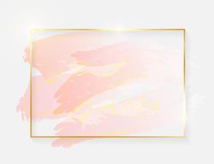 Gold shiny glowing rectangle frame with rose pastel brush strokes isolated on white background. Golden luxury line border for invitation, card, sale, fashion, wedding, photo etc. Vector illustration