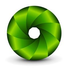 Symbol 3D, abstract lens design and green vector shutter.