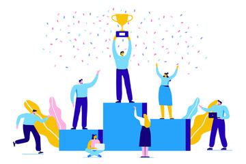 Business people character holding thropy and get reward standing on podium and celebrate. Team Work, Partnership, Leadership Concept. Flat vector illustration on white background. Modern style.