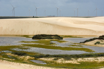 Windmills on the sand dunes of Lencois Maranhenses near Atins, Brazil