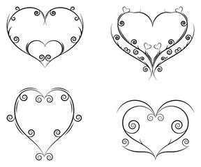 Curls and scrolls set. Decorative elements with hearts for frames. Elegant design swirl vector illustration.