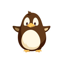 Penguin with wide open wings, white belly isolated vector. Cartoon toy, North pole arctic funny animal, Christmas and New Year greeting character