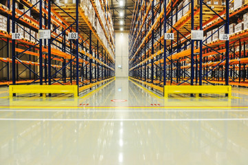 Warehouse racking in large industrial storage