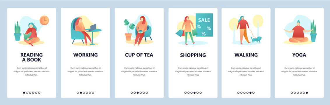 Web site onboarding screens. Hobby and leisure activity. Reading, walking, yoga, shopping. Menu vector banner template for website and mobile app development. Modern design flat illustration.