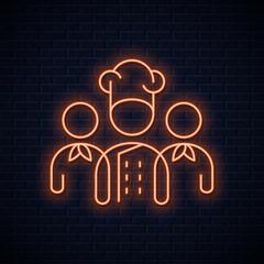 chef team neon sign. Restaurant chefs neon concept