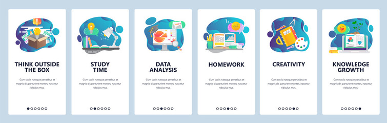 Web site onboarding screens. Education, knowledge, studying and creativity. Menu vector banner template for website and mobile app development. Modern design flat illustration.