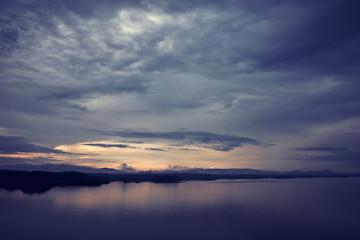 Daybreak scenery over the norwegian sea, beautiful sunrise. Epic dawn sea landscape