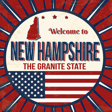 Welcome to New Hampshire vintage grunge poster
