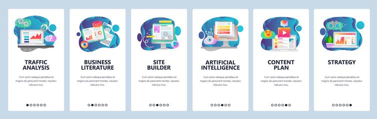 Web site onboarding screens. Traffic analysis, AI, business development and website coding. Menu vector banner template for website and mobile app development. Modern design flat illustration.