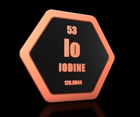 Iodine chemical element periodic table symbol 3d render