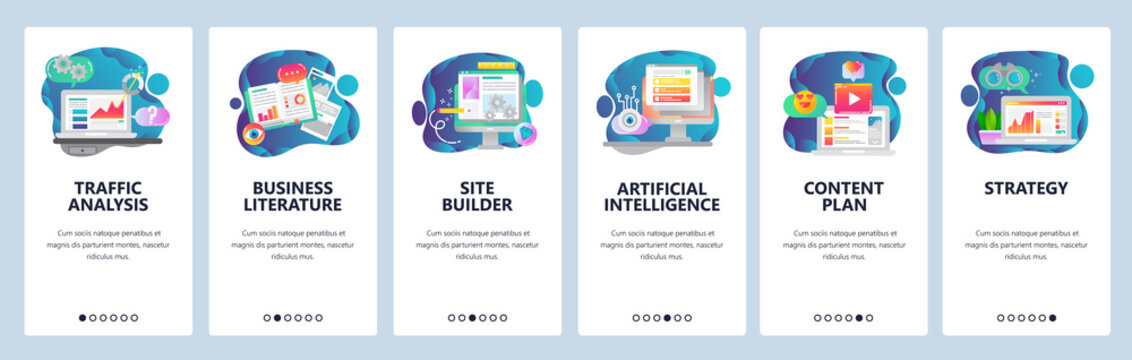 Web site onboarding screens. Traffic analysis, AI, business development and website coding. Menu vector banner template for website and mobile app development. Modern design flat illustration.