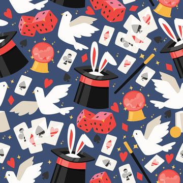 Magician vector seamless pattern illusionist show magic illusion playing cards and magical illusionism on backdrop and cartoon show performance with bunny dove background set illustration