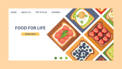 Toast vector landing page sandwich healthy toasted food with bread vegetables fruits egg snack for breakfast web-page illustration backdrop with sliced tomato and cut sausages web site background