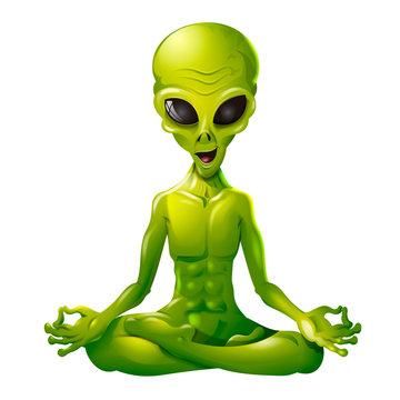 Alien verde en posición de yoga