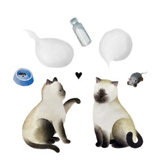 Set of watercolor cats and bubbles