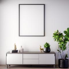 Mock up poster frame in Interior, modern style, 3D illustration