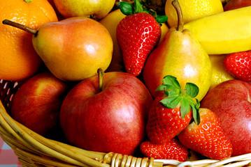 various kinds of fruit strawberries, apples, pears, banana liiek fruits background