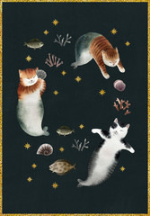 Greeting postcard with cats