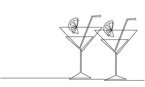 Cocktail glasses with a straw. Line drawing
