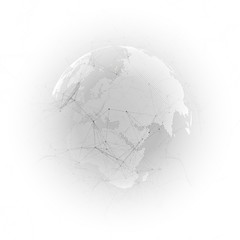 Abstract futuristic background with connecting lines and dots, polygonal linear texture. World globe on gray. Global network connections, geometric design, technology digital concept.