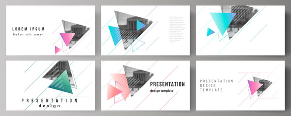 The minimalistic abstract vector illustration of the editable layout of the presentation slides design business templates. Colorful polygonal background with triangles with modern memphis pattern.