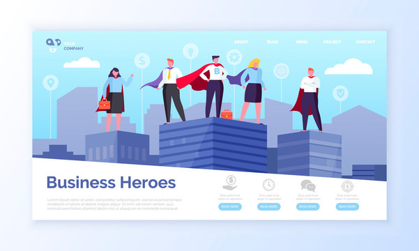 Entrepreneurs in superman coats, business heroes webpage vector. Men and women in superhero outfits on top of skyscrapers landing page or site flat style